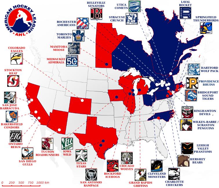 AHL TEAM MAP