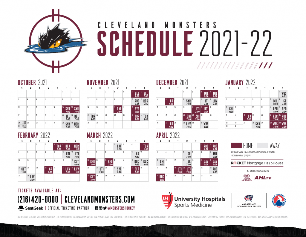 2021-22 Cleveland Monsters Schedule